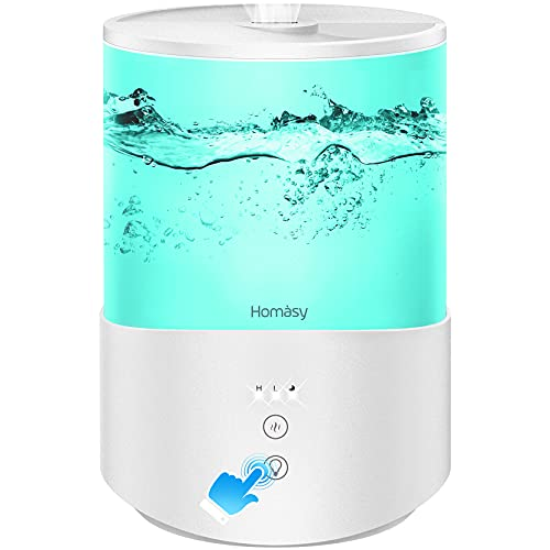 Homasy ColorMist Cool Mist Humidifier, 25dB Humidifiers Essential Oil Diffuser with 7-Color Lights, 2.5L Humidifier for Bedroom, 30H Work Time