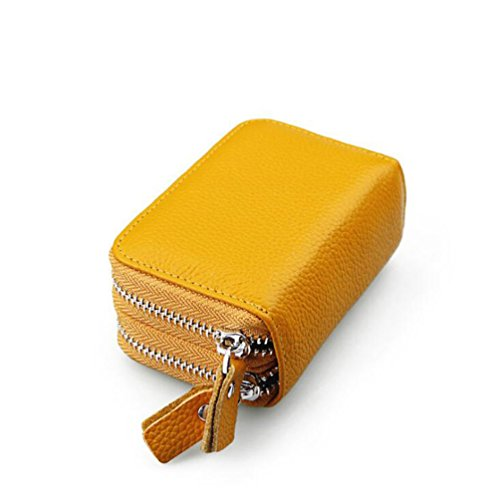 AprinCtempsD RFID Cartera Tarjeteros Piel Genuino Monedero Pequeñas Portatarjetas Mini Cremallera para Mujer Hombre (Amarillo)