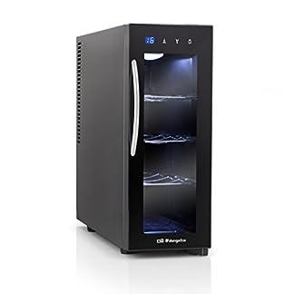 Orbegozo-VT-415-Weinschrank-4-Flaschen-LED-13-L-70-W-3-herausnehmbare-Bden-verchromt-digitales-Display-und-Touch-Control-Panel