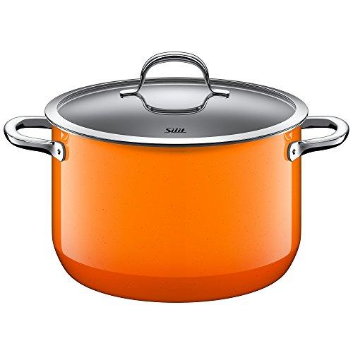 Silit Passion Orange Koch/- Fleischtopf, hoch, 24cm, Glasdeckel, 6,4l, Silargan Funktionskeramik, Topf Induktion, Auslaufmodell, orange