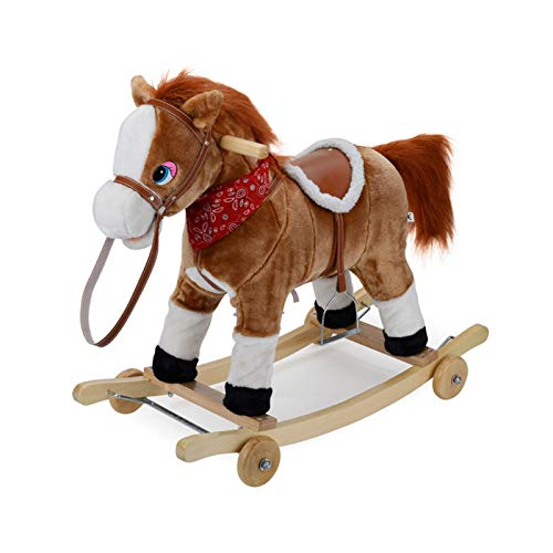 CHIFAN Plush Rocking Horse, Ride-on Rocking Horse, Boy and Girl Rocking Animal, Infant Ride Toy, Brown