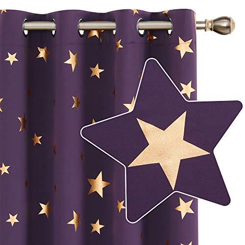 Deconovo Blickdichter Vorhang mit Ösen Thermovorhang Sterne Sonnenschutz Wohnzimmer 229x117 cm Dunkelviolett 2er Set