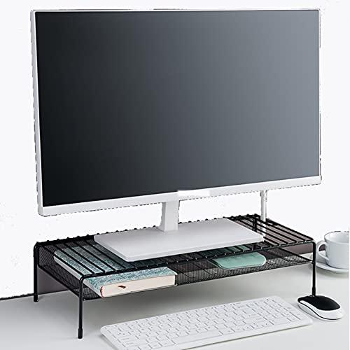 QYQS Soporte de Monitor único, Soportes de Monitor, Hierro, Duradero, para como Un Monitor de Soporte, Soporte de Impresora, Soporte de Computadora, Elevador Portátil(Size:33.8x23x11.5cm,Color:Negro)