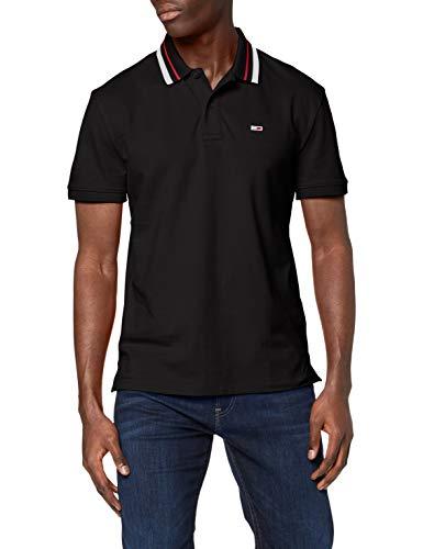 Tommy Jeans Herren TJM Classics Tipped Stretch Polo Poloshirt, Schwarz (Tommy Black BBU), Small