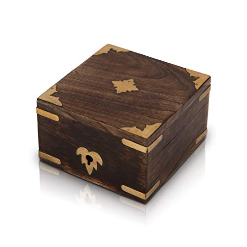 Great Birthday Gift Ideas Handmade Decorative Wooden Jewelry Box Jewelry Organizer Keepsake Box Treasure Chest Trinket Holder Lock Box Watch Box Storage Box 4 x 4 Inches Gifts For Him Her
