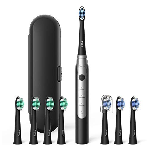Electric Toothbrush for Adults, Dnsly Electric Toothbrush with 8 Brush Heads, Smart Timer, Travel Case, 3 Modes Rechargeable Electric Toothbrush, USB Charge Last 30 Days Use, Sonic Toothbrush, Black