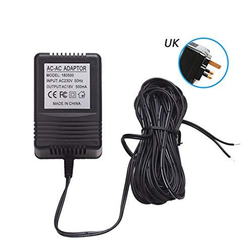 karrychen 18V 500mA UK EU US Plug Power Supply Adapter Transformer Charger for WiFi Wireless Doorbell IP Video Intercom Ring Camera Accessories-UK