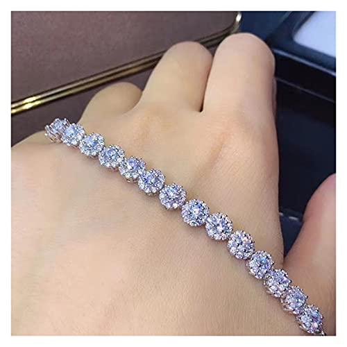 LIYDENG Pulsera de Diamante Real 925 Plata esterlina Banco de Piedra Blanca para Mujeres Boda Fina joyería Blanca Pulsera (Color : White)