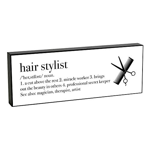 Elanze Designs Hair Stylist Definition 8 x 3 Wood Double Sided Table Top Sign Plaque
