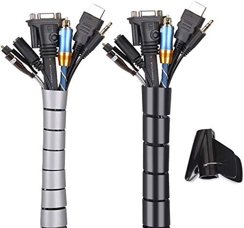 MOSOTECH Organizador Cables, Cubre Cables de 2 x 3m, Flexible Funda Organizador Cables, Organizador de Cables Mesa, Recoge Cables para Office y PC Escritorio-Negro y Gris (Ø2.2cm y Ø1.6cm)
