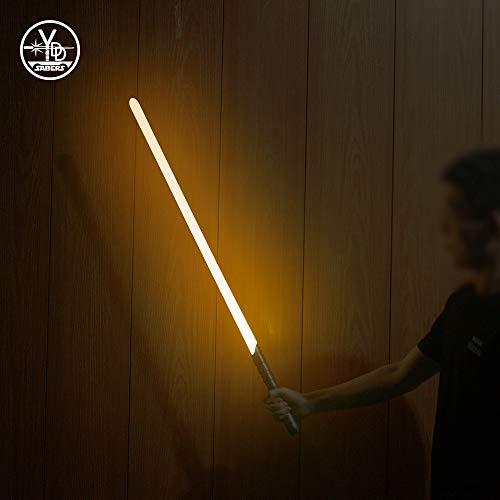 YDDSABER Jedi Sith Metal Hilt Light Saber, Force FX Heavy Dueling, Rechargeable Lightsaber with 3 Mode Sound , High Light with FOC, Blaster(Orange)