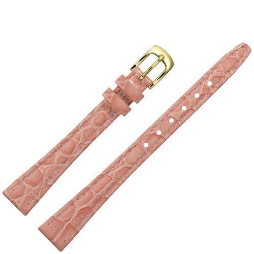 MARBURGER Uhrenarmband 12mm Leder Rose Kroko - Werkzeug Montage Set 3701243000220