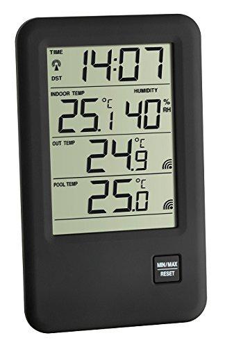 Malibu Spezial TFA 30.3053.99.IT Poolthermometer mit 2 Kabelsender (Schwarz)