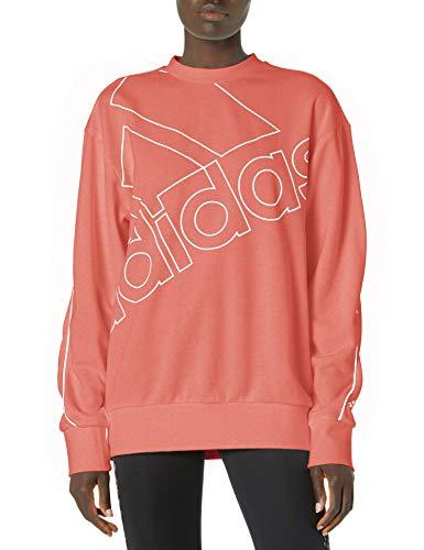 adidas womens Essentials Brand Love Sweatshirt Hazy Rose/White Small