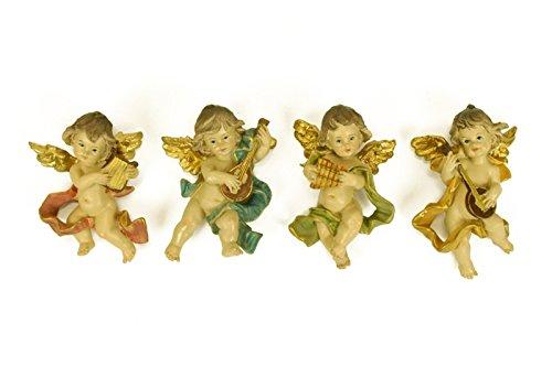 CAPRILO 4 Figuras Decorativas Religiosas Pared Ángel Músico. 6 x 3 x 10 cm