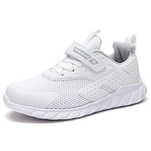 GUFANSI Kinderschuhe Kinder 36 Schuhe Jungen Turnschuhe Mädchen Laufschuhe Sportschuhe Hallenschuhe Fitnessschuhe Leicht Atmungsaktiv Walkingschuhe Outdoor Snesker Weiß für Unisex-Kinder