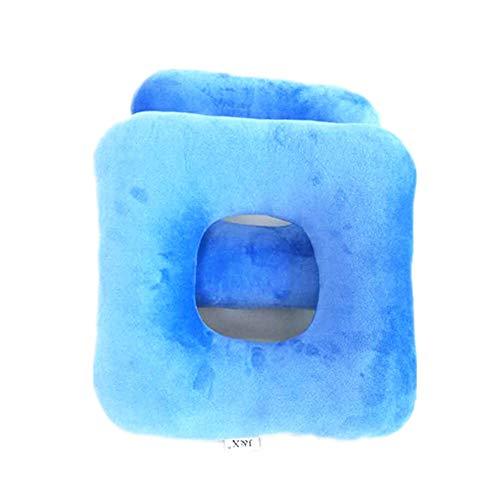 UUK Almohadilla Anti-Decúbito, Almohadilla para Hemorroides, Pelusa Acolchada, Silla De Ruedas, Dolor De Cola De Caballo, Comodidad, Transpirabilidad, Cuadrado (Azul)