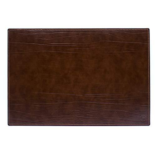 Vade de escritorio para escritorio de oficina y alfombrilla para ordenador portátil, de piel artesanal – 90 x 60 cm – Fabricado en Italia | FP piel – Dante (marrón)