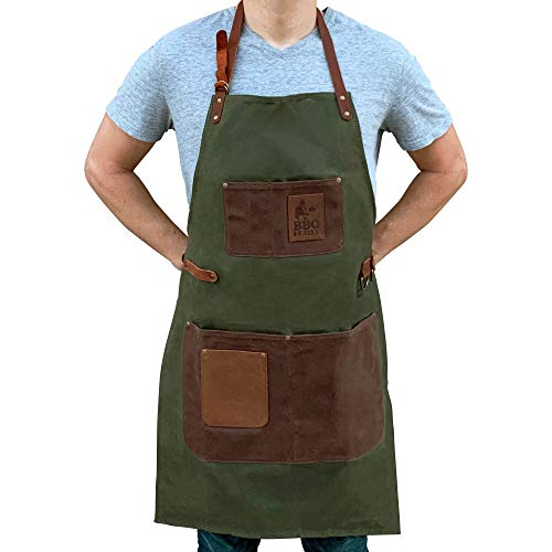 BBQ Butler BBQ Grill Apron - Adjustable Waxed Canvas Cooking Apron - XXL - Heavy Duty BBQ Smoker Apron - Work Aprons with Pockets - Grilling Apron - Workshop Aprons for Men - Leather Pockets - Green