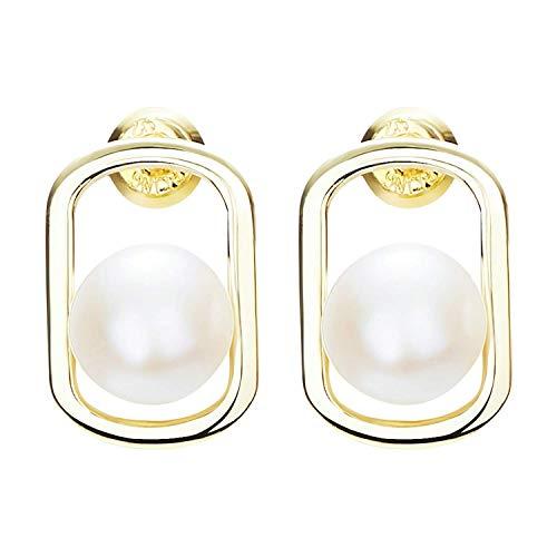 OUHUI Novedad Joyas - Mujeres Damas 925 Pendientes de plata esterlina con perlas de agua dulce Pendientes de botón Negro/Blanco