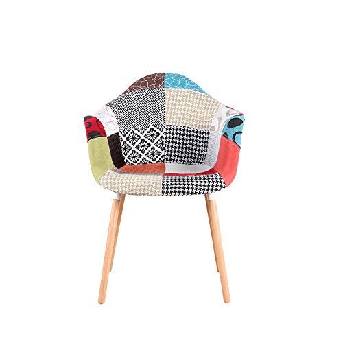 Sweethome - Juego de 2 sillas de comedor, diseño de patchwork, multicolor lino, tela para ocio, salón, sillas de esquina, sillas de recepción con respaldo de cojín suave, color rojo