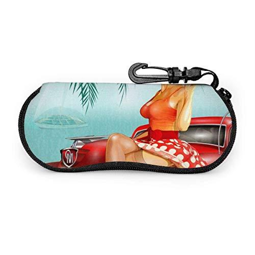 ARRISLIFE Funda de neopreno para gafas de sol con diseño de chica pin-up y coche retro con cremallera y clip para cinturón