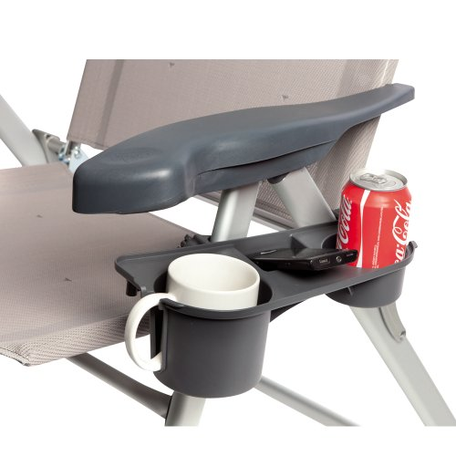 Hummelladen Getränkehalter für Klappstühle, 3 Ablagefächer, grau, belastbar: Ablage für Camping Stuhl Flaschenhalter Dosenhalter Becherhalter