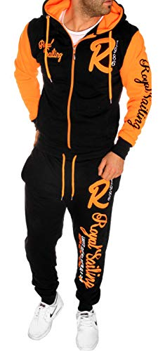 Herren Fitness Jogginganzug Sportanzug Trainingsanzug A. Royal Sailing (S Schwarz-Orange)