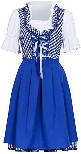 YBINGA Disfraz de fiesta de cerveza alemana para mujer, Oktoberfest bvaro para Halloween, fiesta de criada, a cuadros, para adultos, accesorios de cosplay (color azul + blanco, tamao: M)