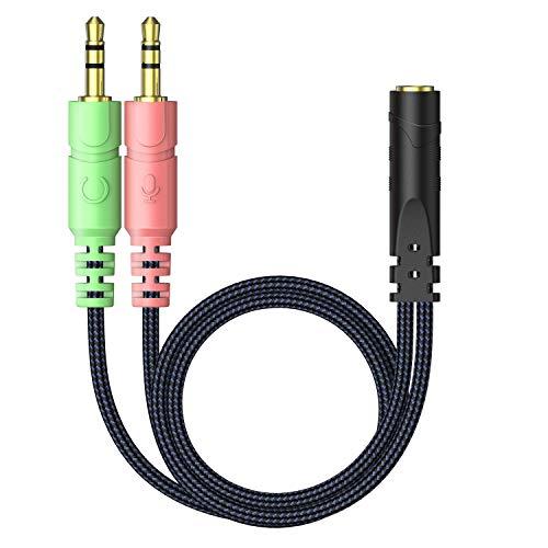 iNassen Splitter per cuffie Cavo Audio Microfono Cuffie 2 in...