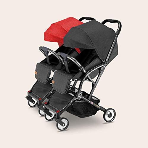 Cochecito doble ultraligero para bebé, doble carrito, doble desmontable, reversible, fácil de plegar, para bebé, con dos asientos laterales a los lados
