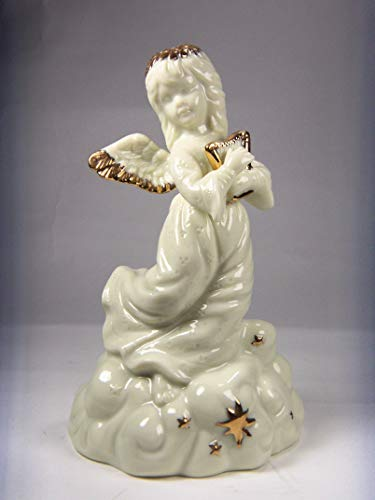 Cosmos Gifts Fine Elegant Jade Porcelain Angel Playing Harp with Gold Accents Music Box Figurine, 6' H
