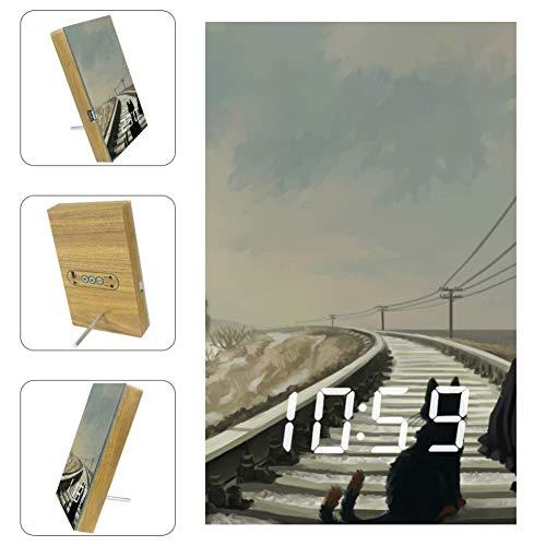 EZIOLY Digitaler LED-Wecker für Mädchen mit Katze auf Eisenbahn, Anzeige von Uhrzeit, Temperatur, Datum, USB-Stromversorgung, Energieeinsparung für Schlafzimmer, Büro