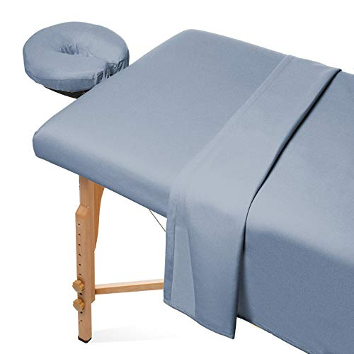 Saloniture 3-Piece Flannel Massage Table Sheet Set - Soft Cotton Facial Bed Cover - Includes Flat and Fitted Sheets with Face Cradle Cover - Cornflower Blue
