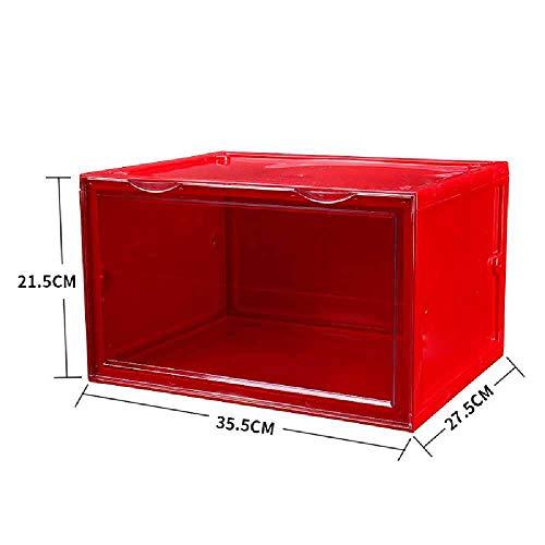 zhuao Basketbalschoenen Transparante Schoenenkast, Dikke Schoenen Opbergdoos, Stofdichte Plastic Vitrine Rode