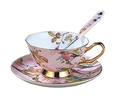 YBK Tech Euro Style Cup& Saucer Set Art Bone China Ceramic Tea Coffee Cup for Breakfast Home Kitchen- Birds and Trees Patterns (Light Pink)