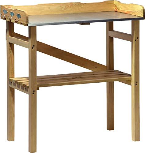 dobar 29058FSC Robuuste plantentafel met 3 haken van geïmpregneerd FSC-grenenhout, 40 x 86 x 80 cm, natuur