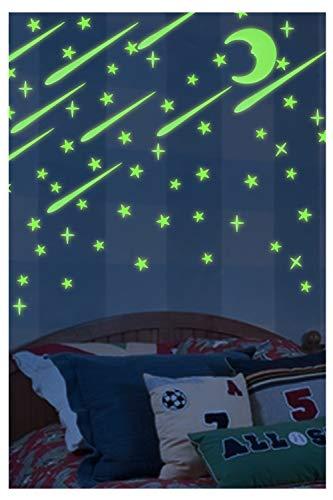 Hocaies Pegatinas de Estrellas Fluorescentes Luminoso Pegatinas de Pared Versión 3D Pegatinas de Pared, DIY Fluorescentes Decoración de la Habitación Para Chico Niña.