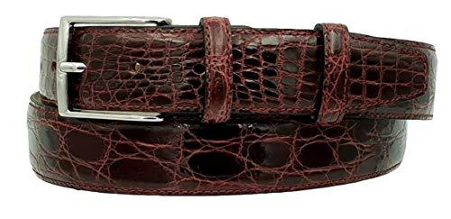 ESPERANTO Cintura uomo in vero fianco di coccodrillo, fodera vera pelle cuoio Nabuk, fibbia nichel free - altezza 4 cm (Bordeaux, Tg 56- LUNG TOTALE 130 CM-GIROVITA 115 CM)
