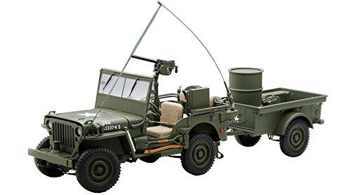 AUTOart - 74016 - Véhicule Miniature - Modèle À L'échelle - Jeep Willys - avec Remorque Et Accessoires - Echelle 1/18