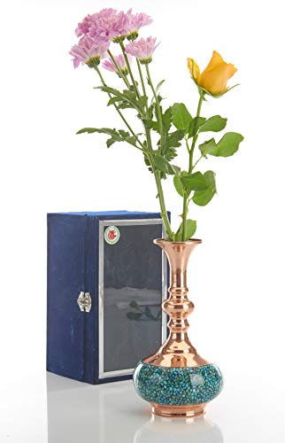 LPUK Luxury Vase Serie 2 - Vaso Persiano turchese intarsiato, Altezza: 25 cm