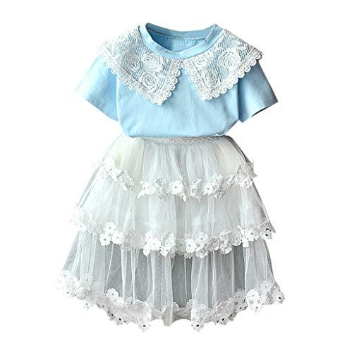 Kleinkind kinderen baby meisjes outfits voor kleding van kant pop kraag T-shirt + tule rok set