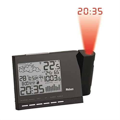 Mebus Funkwetterstation mit Projektion und Wetterprognose schwarz