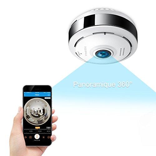 Caméra Sécurité Wifi 960P FREDI IP, Caméra de Surveillance Panoramique 360 Degrés,Caméra WiFi Sans Fil Détecteur de Mouvement Infrarouge à Vision Nocturne, Babyphone Bidirectionnel