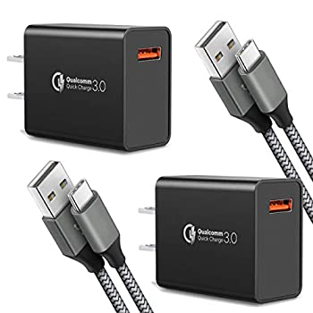 Quick Charge 3.0,USB Type-C Cable with Adaptive Fast Wall Charger Compatible for Samsung Galaxy S8 S8 Plus S9 S9 Plus,LG G6 G5 V30 V20 Google Pixel 2 Nexus 5X 6p