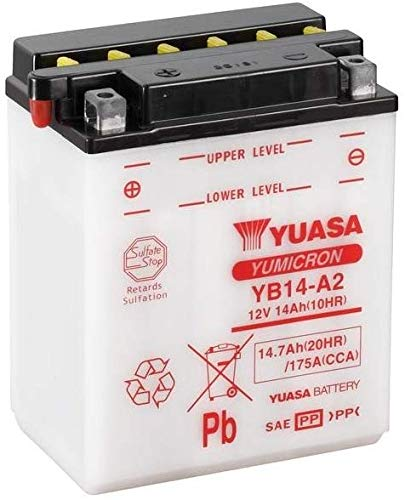 YUASA batterij YB14-A2 voor Honda XL R 600 85-87; VF Interceptor 84-85; Polaris 330 Magnum Trail Boss 03-05; Suzuki Quad LT 250/280 / 300