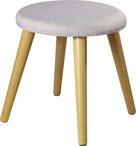 ECHTWERK Skandi, Gepolsterter Sitzhocker mit Holzfüßen, 40 x 40 42 cm, 2,8 kg, grau, Breit