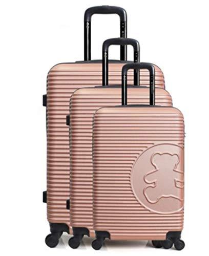 Lulu Castagnette Set mit 3 Reisekoffern – Modell Big Bear – ABS, robust, leicht, 4 Rollen, mit integriertem Schloss (55 cm + 66 cm + 75 cm) Pink Rosa S