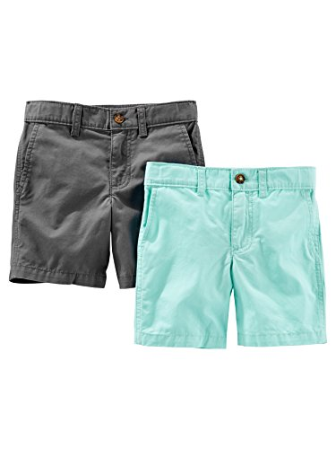 Simple Joys by Carter's Baby Boys' Toddler 2-Pack Flat Front Shorts, Mint, Gray