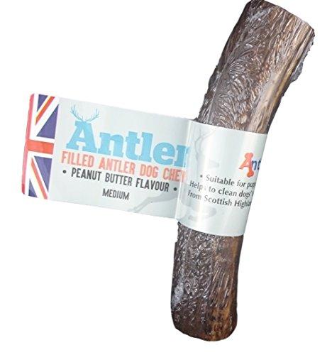 Antos Filled Antler - Mantequilla para perro, sabor a mantequilla de cacahuete – tamaño mediano 80-140 g